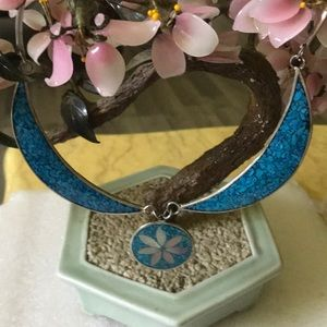 Antique mop inlay turquoise alpaca chocker